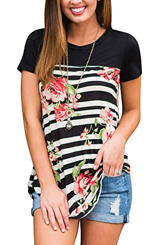 Women Floral Short Sleeve Curved Shirts High Low Hem Black S for $<!--$15.99-->