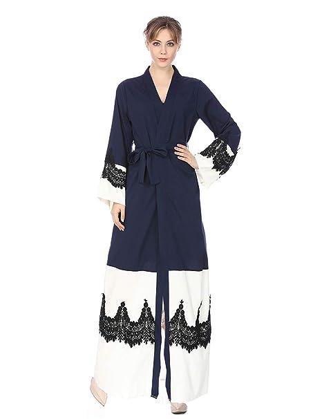 Zhhlaixing Vestido de Mujer Abaya Batas Largo Blusa - Elegante Suelta Manga Larga Kaftan Musulmana Islámica Vestidos de Fiesta Ropa Kimonos Turquía: ...