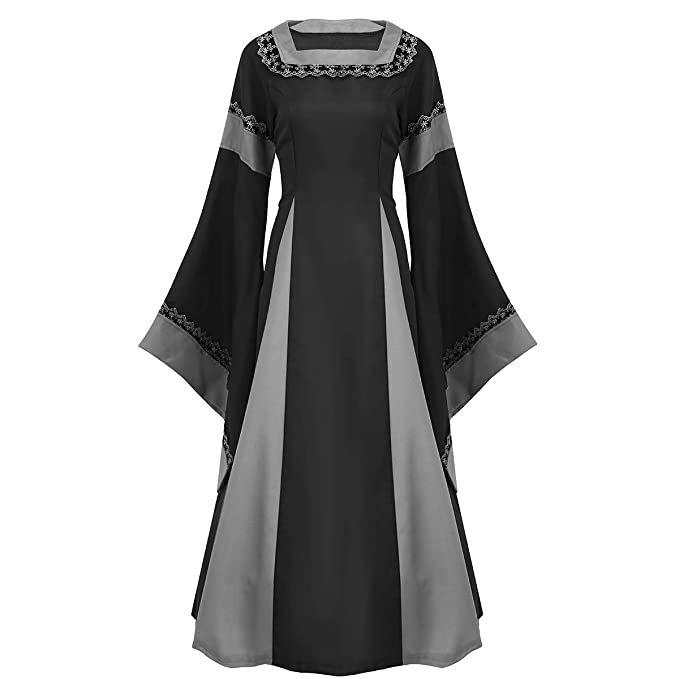 Amazon.com: FEESHOW Women Medieval Dress Lace up Vintage Floor Length Cosplay Retro Long Dress Black Large: Clothing