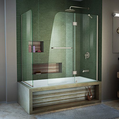 DreamLine Aqua 56-60 in. W x 30 in. D x 58 in. H Frameless Hinged Tub Door with 30 in. Return Panel in Brushed Nickel, SHDR-3148586-RT-04