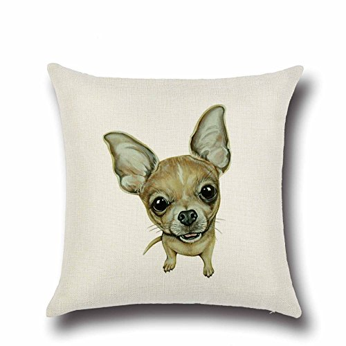 DECORLUTION Brown Chihuahua Pattern Design Durable Pillow Co