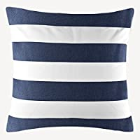 "TAOSON Home Decorative Cotton Canvas Square Throw Pillow Cover Cushion Case Stripe Toss Pillowcase with Hidden Zipper Closure Multiple Colors (18""x18""(45x45cm), Navy Blue)"