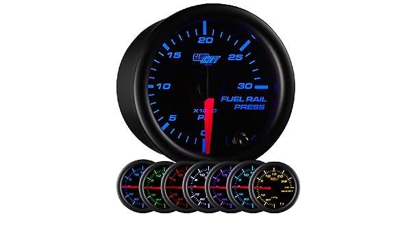 glowshift negro 7 Color 30.000 PSI BARRA DE COMBUSTIBLE Medidor de presión: Amazon.es: Coche y moto