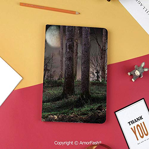 Printed Slim Magnetic Folding PU Flip Cover for Samsung Galaxy Tab S3 9.7,Gothic,Dark Night in The Forest with Full Moon Horror Theme Grunge Style Halloween,Brown Green Yellow]()