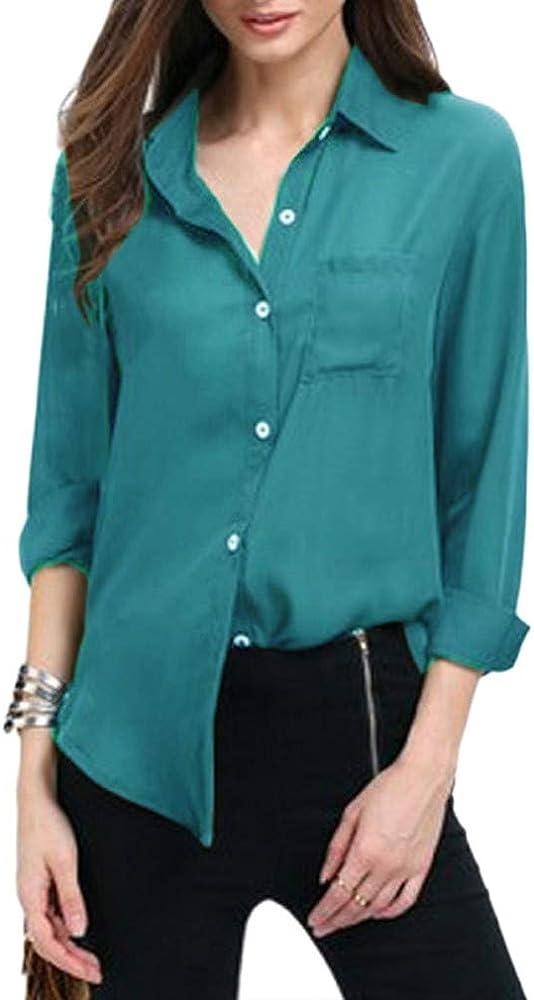 QIYUN.Z Camisa de Gasa de Manga Larga para Mujer, de Color sólido, Bolsillo, Blusa de Gasa, Camisas, Tops (Azul Pavo Real M): Amazon.es: Ropa y accesorios