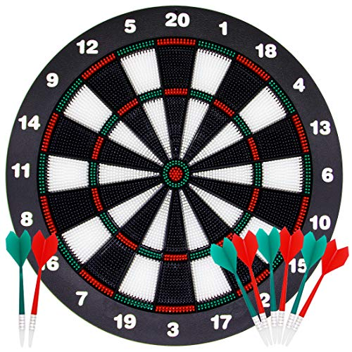 ATDAWN 16.4 Inch Safety Dart Board Game Set with 8