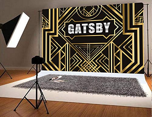 Fanghui Great Gatsby Photography Backdrops 1920s Party Background Decoration Black and Golden Photo Booth Studio Props Vinyl 7x5ft ()