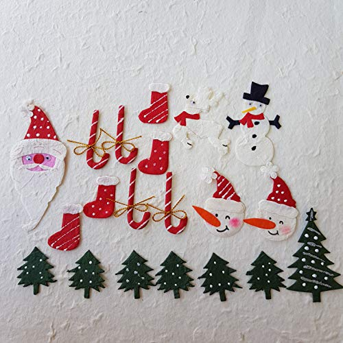 DOWDEGDEE 20 pcs Handmade Mulberry Paper Christmas Doll Set Santa Claus Head Christmas Tree Stockings Reindeer Candy Cane Snowman Craft Scrapbook Bow Doll House Supplies Card.