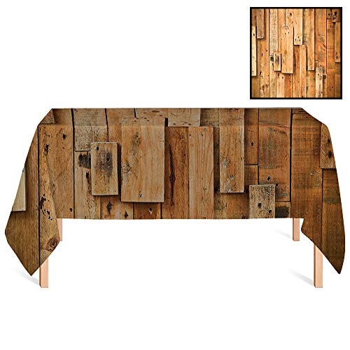 - SATVSHOP Premium Tablecloth,/70x156 Rectangular,Wooden Lodge Style Teak Hardwood Wall Planks Image Farmhouse Vintage Grunge Design Artsy ES Amber.for Wedding/Banquet/Restaurant.