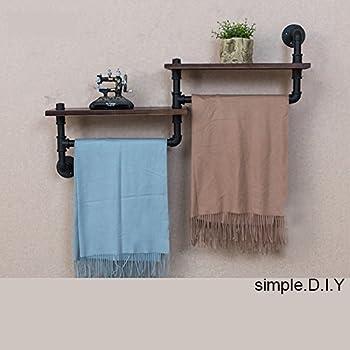 Amazon.com: Rustic Wooden Bathroom Shelf & Towel Rack / Rod by ...