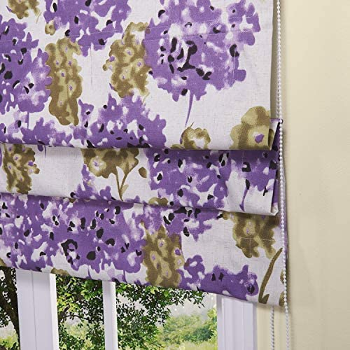 Artdix Roman Shades Blinds Window Shades – Purple Floral 62 W x 48L Inches Lined Blackout Cotton Thermal Fabric Custom Roman Shades for Windows, Doors, French Doors, Kitchen