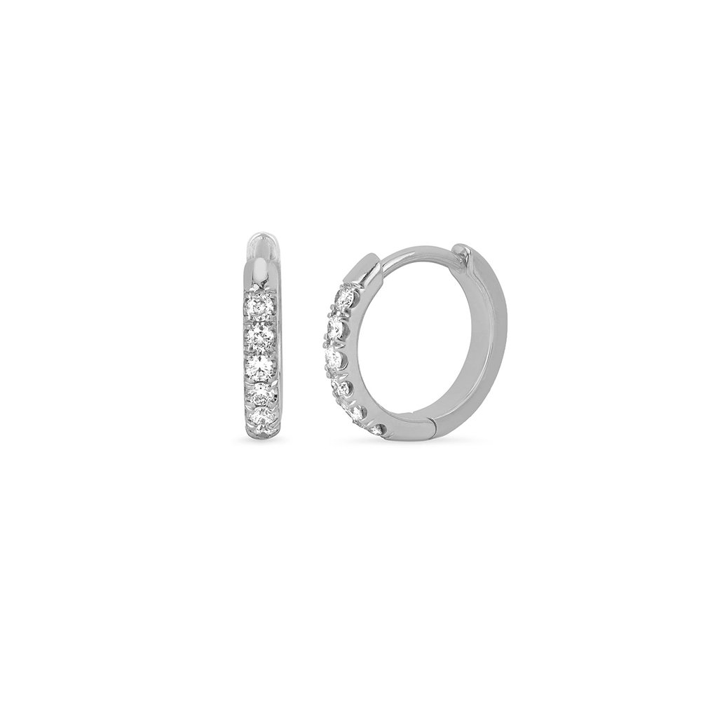 Thin Mini Ear Huggie Hoop Earrings Micropave CZ Cartilage Hoops in Sterling Silver - 10MM Inner Diameter Hoop Small Size
