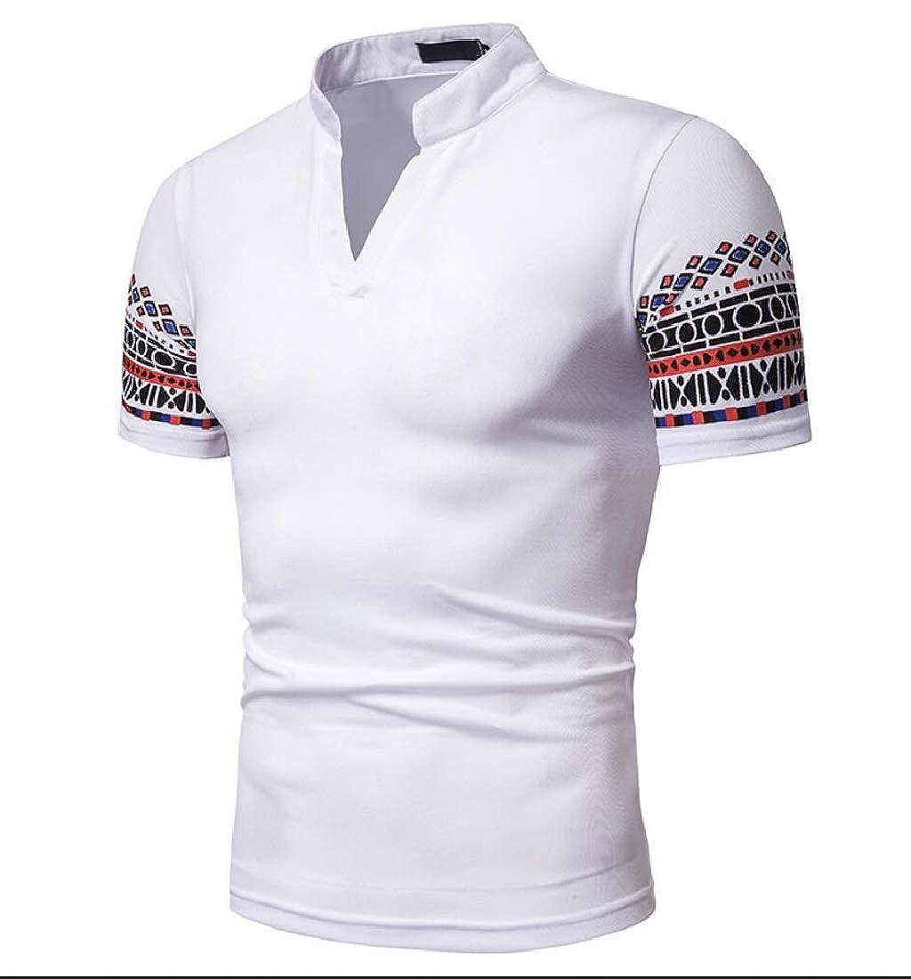 Sankt Mens Tee Lounge V-Neck Ethnic Short Sleeve Printed T Shirt