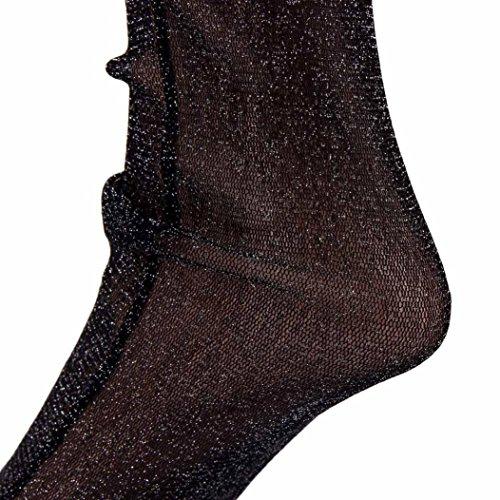 Women Fishnet Socks, Inkach Girls Socks Crystal Thin Transparent Thin Silk Socks Black