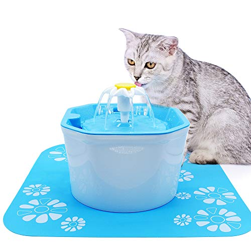 Hooshion Automatic Pet Cat Dog Water Fountain Electric Pet Drinker Bowl Dispenser,1.6L Octagonal Shape with Super Quiet Pump Replaceable Filter (Include a Silicone Drinking Pad) - Octagonal Fountain