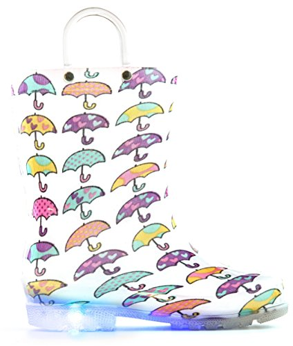 Boots Big Feet - MOFEVER Girls Kids Toddler Rain Boots Light up Waterproof Shoes White Umbrella Print Light Weight Cute Lovely Funny Print with Easy-On Handles (Size 3,White)