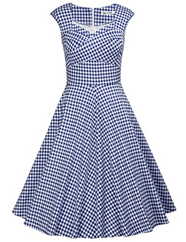 MUXXN Women's Summer Sweetheart Neck Cap Sleeves Vintage Wedding Dress (Blue Plaid XL)