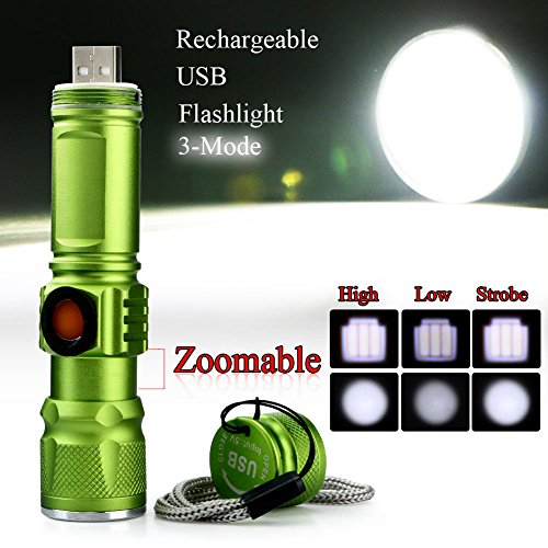 Zlimio Flashlight , CREE Q5 USB Rechargeable Portable Ultra Bright LED Flashlight Torch, Best Tools for Camping, Hiking, Hunting, Backpacking, Fishing