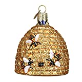 Old World Christmas Glass Blown Ornament with S-Hook and Gift Box, Animal Collection (Bee Skep)