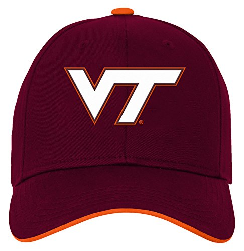 Maroon Kids Hat - OuterStuff NCAA Virginia Tech Hokies Youth Boys Basic Structured Adjustable Hat, 1-Size, Classic Maroon
