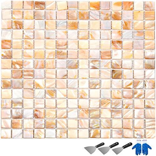 Happybuy Mother of Pearl Shell Mosaic Tile 11 Sheets 12 x12 Inch Backsplash Tile for Kitchen 11SqFt Natural Varied Mosaic Tiles for Kitchen Backsplash Tile Bathroom Wall Tile