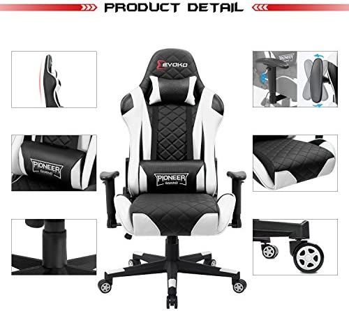 Devoko Racing Style Gaming Chair Height Adjustable Swivel PC Computer Chair with Headrest and Lumbar Support Leather Reclining Executive Office Chair (White) 51 dVkJ32WL