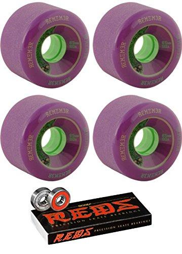 ラウンジスタッフエレクトロニック65 mm Remember the Lil ' Hoots Longboard Skateboard Wheels with Bones Bearings – 8 mm Bones Reds Precisionスケート定格スケートボードベアリング – 2アイテムのバンドル
