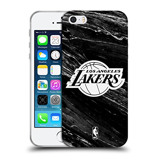 Officiel NBA B&W Marbre Los Angeles Lakers Étui Coque en Gel molle pour Apple iPhone 5 / 5s / SE