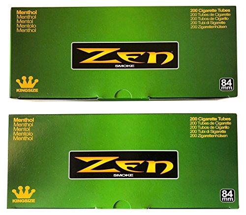 Zen Menthol King Size Cigarette Tubes - 2 pack, 400 Tubes Total