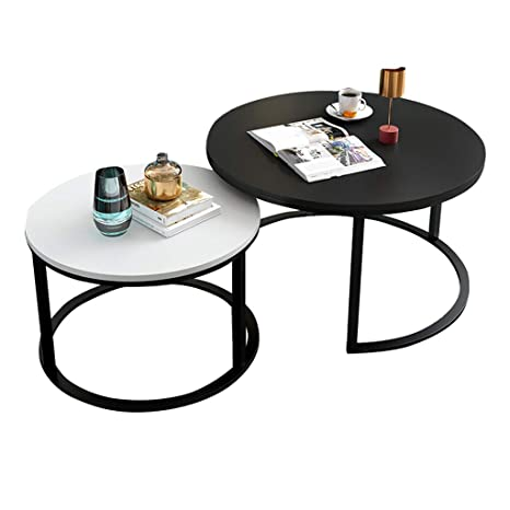 Amazon.com: Round Side Tables Set of 2, Small Matt Coffee ...