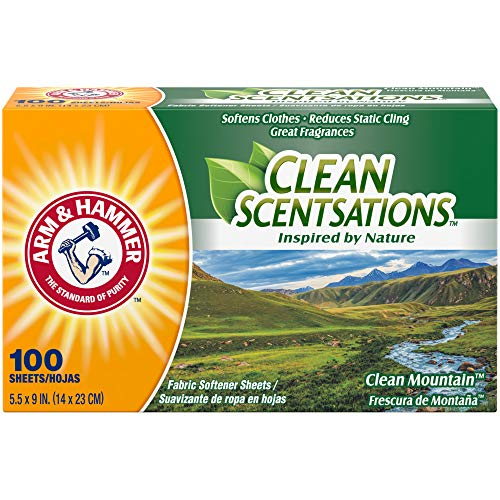 Arm & Hammer Fabric Softener Sheets, 100 Sheets, Clean Mountain