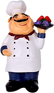 Holding Fruit Resin Chef Statue Decorative American Chef Figurine for Counter Restaurant Cafe Country Cottage Tabletop Kitchen Decorations
