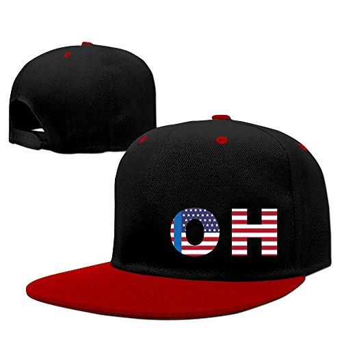 Oh State Of Ohio Flag Adjustable Snapback Hat Flat Brim Hip-Hop Caps