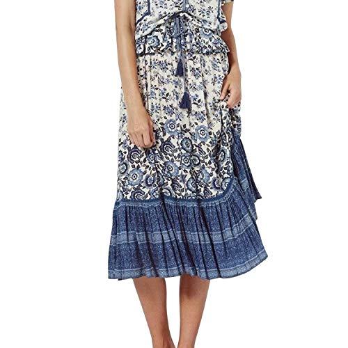 Petalum Jupe Maxi Femme  Imprim Floral Style Bohme avec Cordon  Frange Jupe de Plage Casual Pliss Coupe Droite Vintage Jupon Bleu