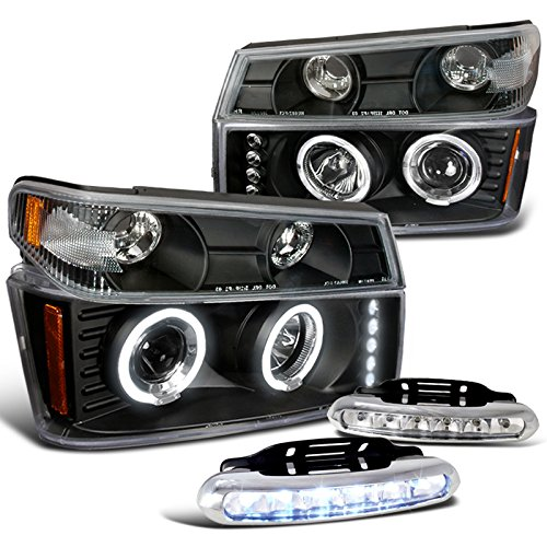 Chevy Colorado Gmc Canyon, Blk Halo Projector Headlights, Bumper Lights, Led Drl Halo Headlights Bumper
