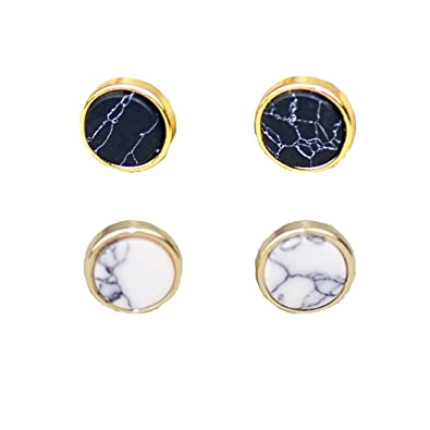 de80b8437 Amazon.com  2 Pairs Fashion Round Shape Marble Stone Push Back Stud Earrings  Set Jewelry for Women Men 10mm  Jewelry
