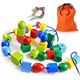 TOLTOL Lacing Bead Set, Educational Stringing Toy Montessori Toys Autism Toys for Toddlers Kids Preschool Children With 36 Jumbo Beads & 4 Threads