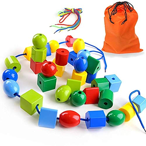 LovesTown Large Lacing Bead Set for Kids,Bead Stringing for Toddlers 36 Jumbo Beads & 2 Strings Educational Stringing Toy Montessori Toys Autism Toys for Toddlers Kids Preschool Children