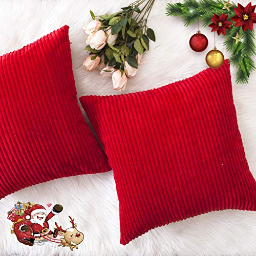 HOME BRILLIANT Christmas Decorative Throw Pillow Covers Striped Velvet Corduroy Plush Cushion Cover Set for Holiday, 2 Pack(Red, 18 x 18 inch, 45cm)