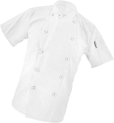 Gazechimp Mandarin Chaquetón de Chef Uniforme de Manga Corta de Cocinero Ropa de Hotel Cocina Abrigo Chaqueta para Mujeres Hombres - Blanco, M: Amazon.es: Ropa y accesorios
