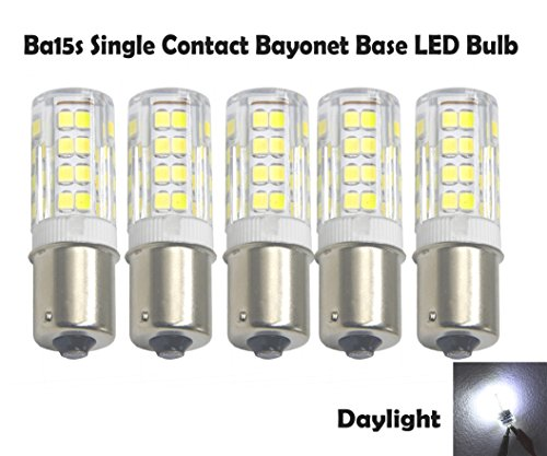 (Ashialight 12 volt BA15s Single Contact Bayonet Base LED Light Bulb Daylight 12 Volt Bulb for RV (5pcs-Pack))