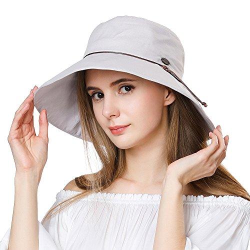 Womens Sun UV Protection Hats Cap Summer Garden Shade Sunblock Hat Crushable XL Big Grey SiggiHat