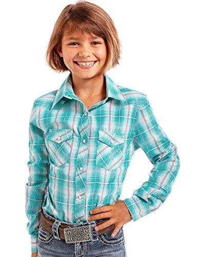 Panhandle Girls' Turquoise Plaid Long Sleeve Snap Shirt Turquoise (Panhandle Western Shirts)