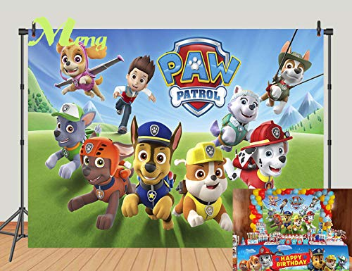 Cartoon Paw Patrol Theme Photography Backdrops Kids Children Happy Birthday Party Decotation Photo Green Grass Background Studio Props Banner Vinyl 7x5ft