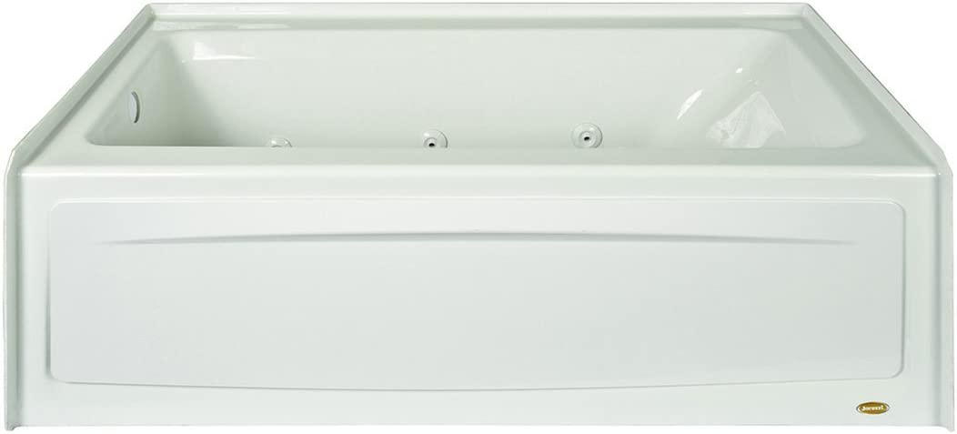 """Jacuzzi J1S6032WRL1XXW 60"""" x 32"""" Signature Three-Wall Alcove Whirlpool Bathtub with 6 Jets, Air Controls, Tiling Flange, Skirt, Right Drain, and Left Pump"""
