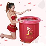 Bathtubs Freestanding Adult Folding Free Inflatable Bucket Home Bath Padded Children with Plastic (Color : Purple 7570cm)