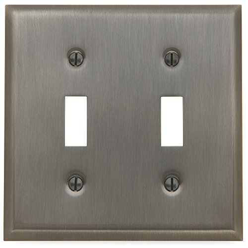 - Baldwin Estate 4761.151.CD Square Beveled Edge Double Toggle Switch Wall Plate in Antique Nickel, 4.5