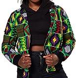 Qiangjinjiu Women's Africa Print Dashiki Front Zipper up Print Jackets Green S