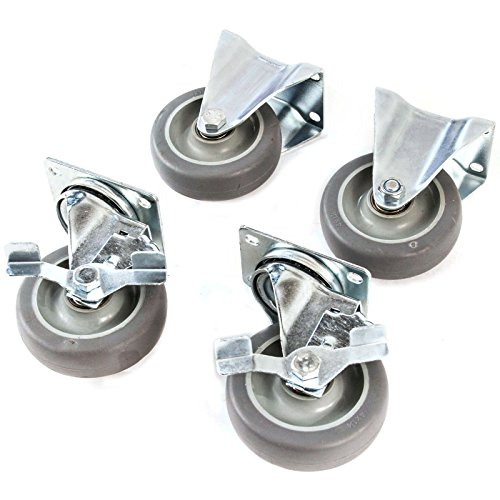 4' Caster Wheels Heavy Duty Premium Commercial Grade Non-Marking Set of 4 (2 Rigid, 2 Swivel with Brakes)