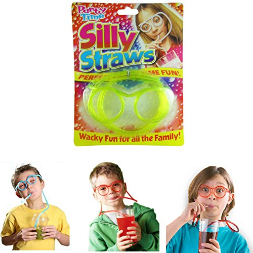 Silly Straw Glasses - Funny Drinking Straw Glasses (2 PCS Blue+Orange) - Party Supplies DIY Silly Straws for Kids Adults Birthday, Anniversary, Wedding, Bar Party Favors ()